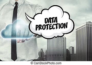 Data protection text on cloud computing theme with...