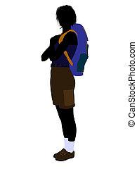 Girl Hiker Silhouette - Girl hiker illustration silhouette...