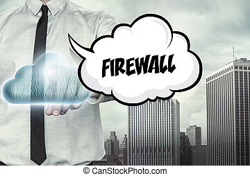 Firewall text on cloud computing theme with businessman on...