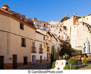 Picturesque street in spanish city. Chinchilla de...