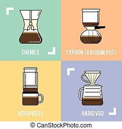Trendy coffee brewing methods. Different ways of making hot...