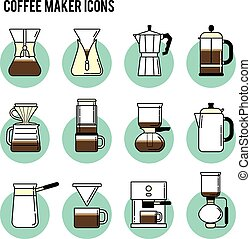 Print - Coffee brewing methods icons set. Different ways of...