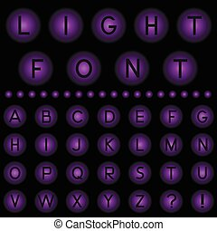Light Font - lilac light balls with alphabet letters Vector...