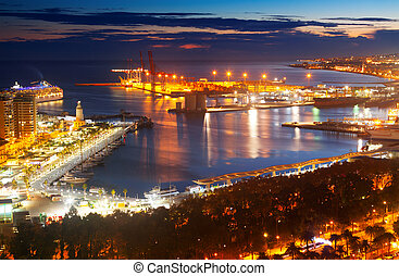 Malaga with Port from castle  in evening.  Spain