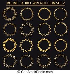 Round wreath set - Golden round laurel wreath icon set for...