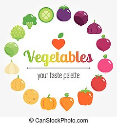 Colourful rainbow round vegetables background with place for...