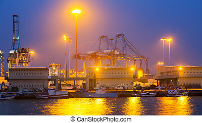 night view of port Algeciras, Spain