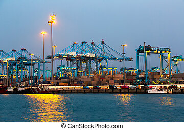 Evening view of Port - Evening view of Port with cranes and...