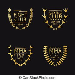 Fight club - Golden fight club emblem Mixed Martial Arts...