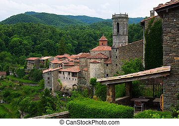 View of old catalan village. Rupit i Pruit - View of old...