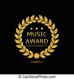 Music award icon. Golden laurel wreath, Vector illustration