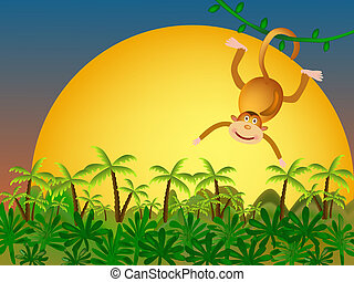 monkey illustration - monkey and palms and yellow sunset