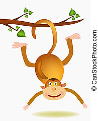 monkey illustration - monkey on tree limb on white...