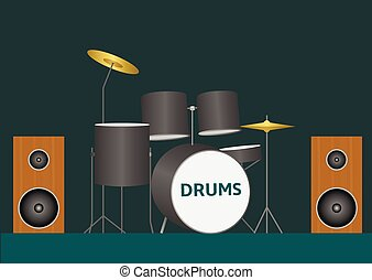 Drum set Bass tom-tom ride cymbal crash hi-hat snare stands