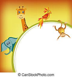 parrot, giraffe, elephant and monkey frame illustration