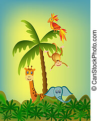 parrot, giraffe, elephant and monkey illustration