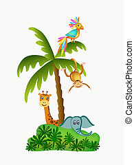 parrot, giraffe, elephant and monkey illustration isolated