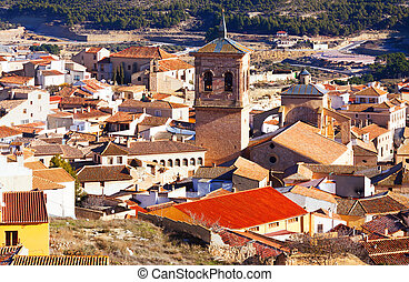 View of old spanish town with belltower Chinchilla - view of...