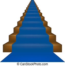 Stairs covered with blue carpet
