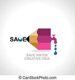 save water concept created with pencil