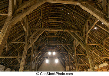 Medieval barn in Flanders - Gothic medieval barn in...