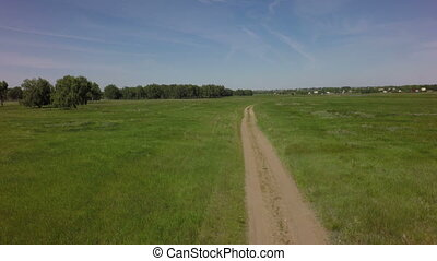 Country road in summer West Siberian Plain Omsk region