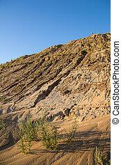 Sand quarry against blue sky