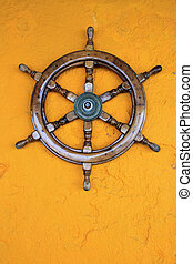 Old boat steering wheel, Greece - Steering wheel of the ship...