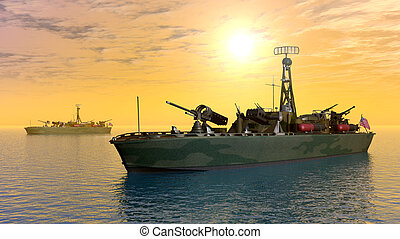US Torpedo boat - Computer generated 3D illustration with a...