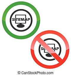 Sitemap permission signs - Allowed and forbidden signs with...