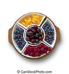 fruta, tazón,