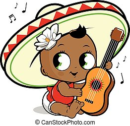 Mariachi baby girl playing guitar - Vector Illustration of a...