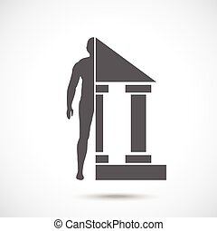 Abstract symbol concept. Human silhouette and bank.