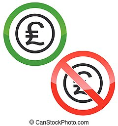 Pound sterling permission signs - Allowed and forbidden...