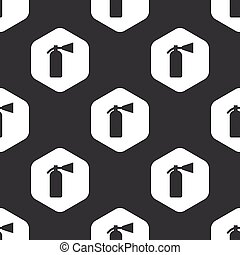 Black hexagon fire extinguisher pattern - Image of fire...