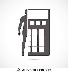 Abstract symbol concept. Human silhouette and calculator.
