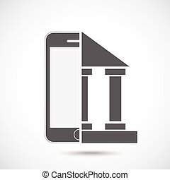 Abstract symbol concept. Mobile phone silhouette and bank.