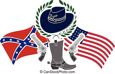american civil war. stencil. sixth variant. vector...