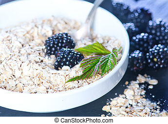oat flakes and blackberry - oat flakes and fresh blackberry...