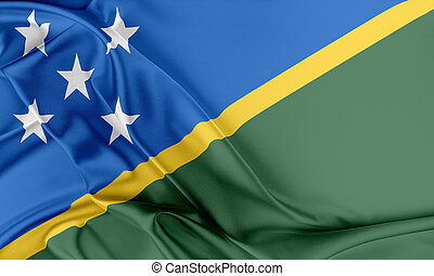 Solomon Islands Flag Flag with a beautiful glossy silk...