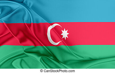 Azerbaijan Flag Flag with a beautiful glossy silk texture