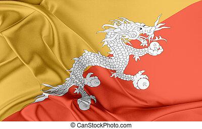 Bhutan Flag Flag with a beautiful glossy silk texture