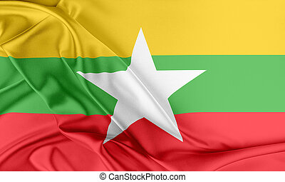 Burma Flag. Flag with a beautiful glossy silk texture.