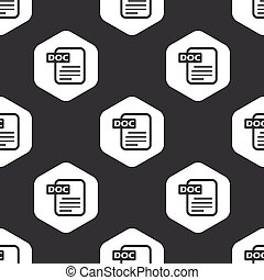 Black hexagon DOC file pattern - Image of document with text...