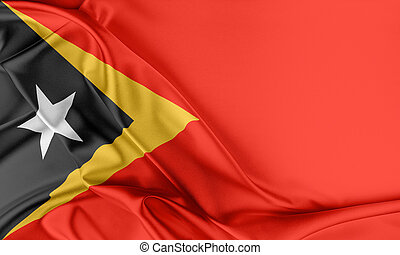 East Timor Flag. Flag with a beautiful glossy silk texture.