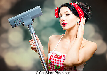 Amazing sexi pin-up lady with vacuum cleaner - Close up...