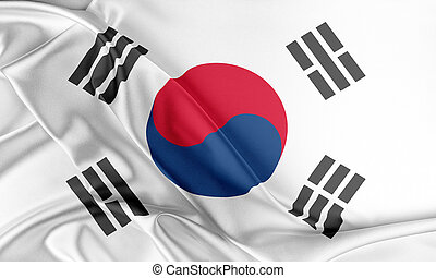 Korea South Flag Flag with a beautiful glossy silk texture