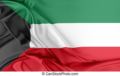 Kuwait Flag Flag with a beautiful glossy silk texture