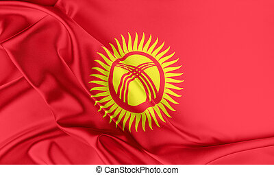 Kyrgyzstan Flag. Flag with a beautiful glossy silk texture.