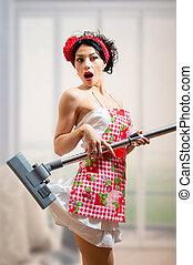 Surprized sexi pinup girl holding vacuum cleaner - Surprized...